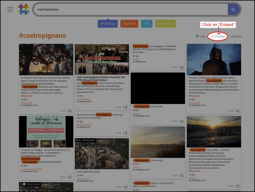 EMBED THE #HASHTAG TO YOUR WEBSITE OR BLOG – HashAtIt com